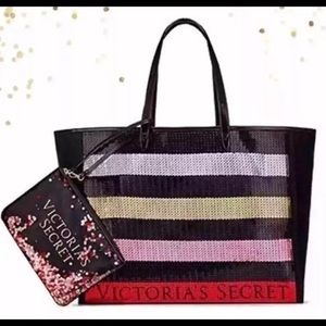 NWT: Victoria's Secret Sequin Tote & Makeup bag
